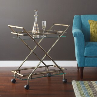 Silver Orchid Rita Serving Cart in Antique Brass Finish