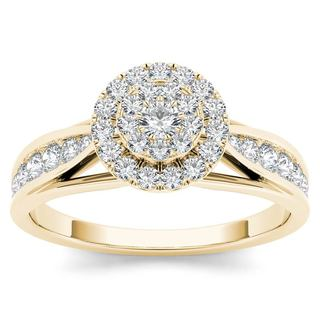 De Couer 14k Yellow Gold 5/8ct TDW Diamond Halo Engagement Ring (H-I,I2)