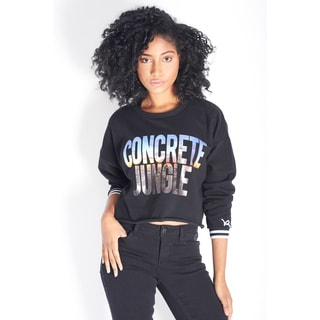 Rocawear Women's Black Cotton and Polyester Concrete Jungle Sweatshirt