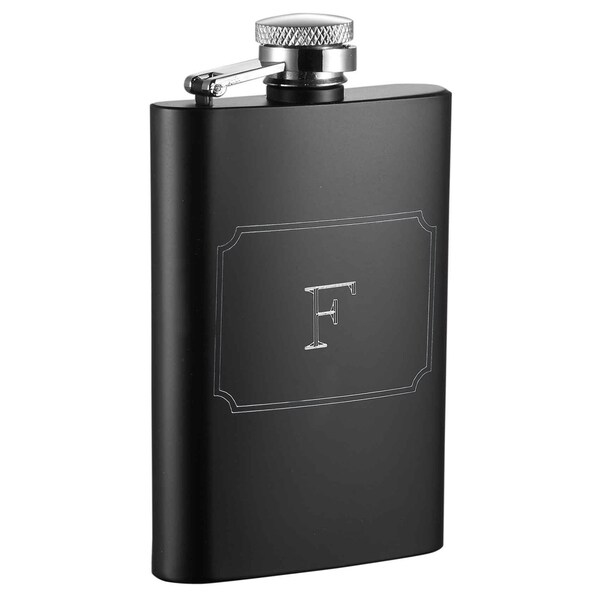 Visol Mini Black Matte 4 oz Flask with Engraved Initial - Letter F