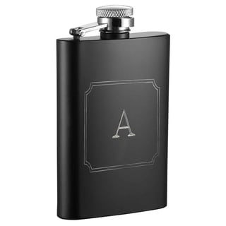 Visol Mini Black Matte 4 oz Flask with Engraved Initial - Letter A