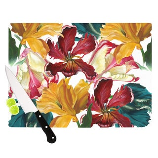 "KESS InHouse Lydia Martin ""Flower Power"" Floral Rainbow Cutting Board"