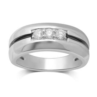 Unending Love 10K White Gold 3-stone Diamond Men's Band