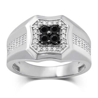 Unending Love 10k White Gold 5/8 CTW Treated Black Center Gent Rings (IJ I2-I3)