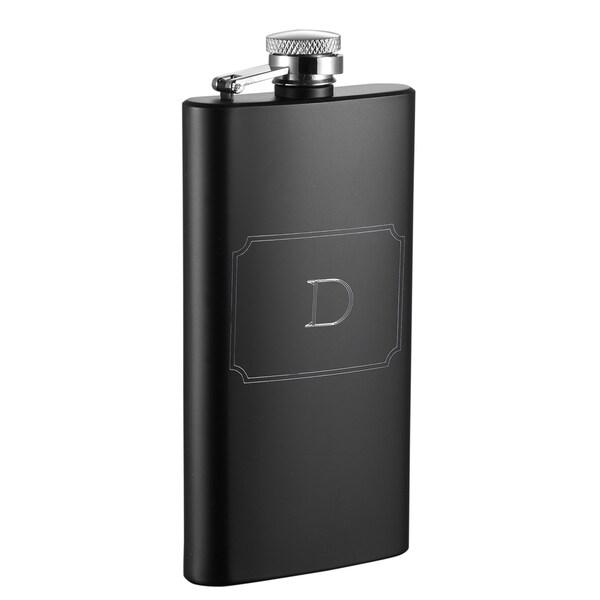 Visol Trim Personalized Black Matte 5 oz Flask - Letter D