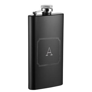 Visol Trim Personalized Black Matte 5 oz Flask - Letter A