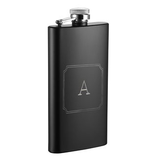 Visol Trim Personalized Black Matte 5 oz Flask - Letter A
