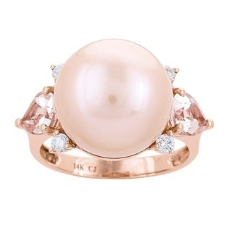 Anika and August 14k Rose Gold South Sea Pearl, Morganite and 1/6ct TDW Diamond Ring (G-H, I1-I2)