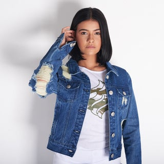 Rocawear Women's Blue Cotton Denim Jacket