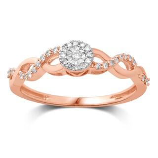 Unending Love 10k Rose Gold 1/6ctw Diamond (I-J Color, I2-I3 Clarity) Promise Ring