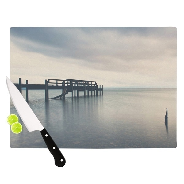 "KESS InHouse Laura Evans ""Waiting for the Storm to Pass"" Gray Blue Cutting Board"