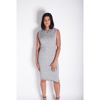 Rocawear Women's Grey Cotton and Polyester Back Keyhole Hoodie Dress