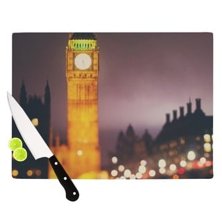 "KESS InHouse Laura Evans ""Westminster at Night"" Yellow Multicolor Cutting Board"