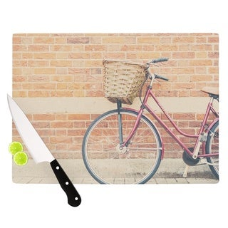 "KESS InHouse Laura Evans ""A Red Bicycle"" Orange Brown Cutting Board"