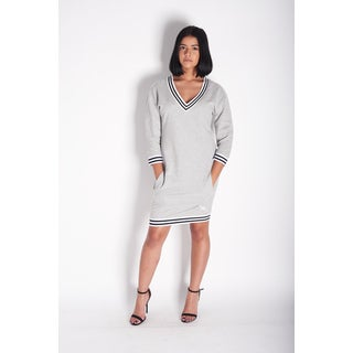 Rocawear Grey Cotton and Polyester Sheath V-neck Knee-length Dress