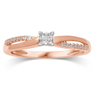 Unending Love 10K Rose Gold Diamond Promise Ring - Pink