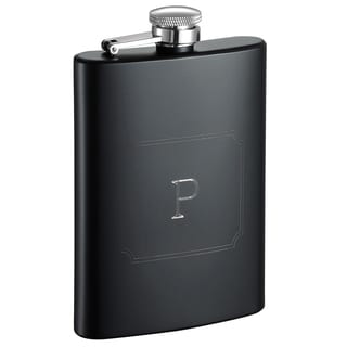 Visol Raven Personalized Black Matte 9 ounce Flask with Initial Engraved - Letter P