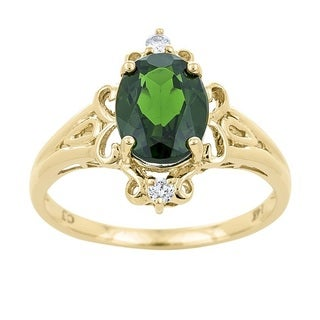 Anika and August 14k Yellow Gold Chrome Diopside and Diamond Accent Ring