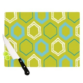 """KESS InHouse Laurie Baars """"Hexy Lime"""" Green Blue Cutting Board"""