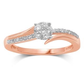 Unending Love Women's Flower Top 10k Rose Gold 1/4-carat IJ I2-I3/HI I1-I2 Diamond Fashion Ring