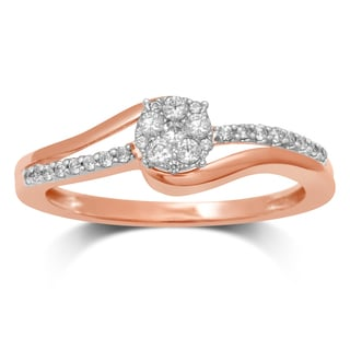 Unending Love 10K 2-tone Gold 1/4-carat TW IJ I2-I3/HI I1-I2 Diamond Flower Top Fashion Ring