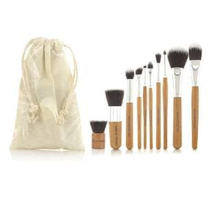 Bamboo 10-piece Make up Brush Set with Storage Case