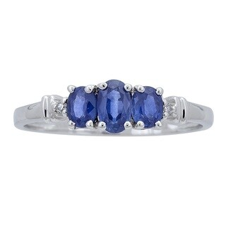 Anika and August 10k White Gold Ceylon Blue Sapphire and Diamond Accent Ring