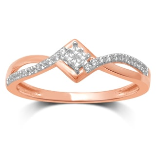 Unending Love Rose Gold Diamond Promise Ring - Pink