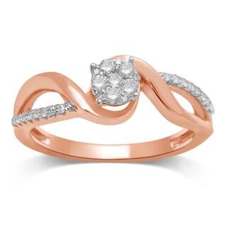 Unending Love Gold Diamond 0.25k Flower Top Fashion Ring