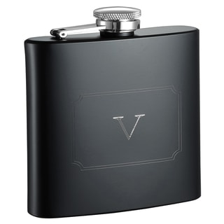 Visol Raven Personalized Black Matte 6 ounce Flask with Initial Engraved - Letter V