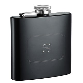 Visol Raven Personalized Black Matte 6 ounce Flask with Initial Engraved - Letter S