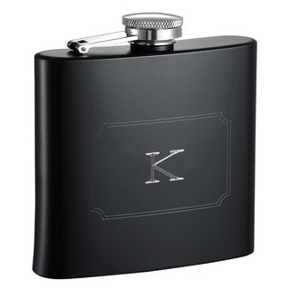 Visol Raven Personalized Black Matte 6 ounce Flask with Initial Engraved - Letter K