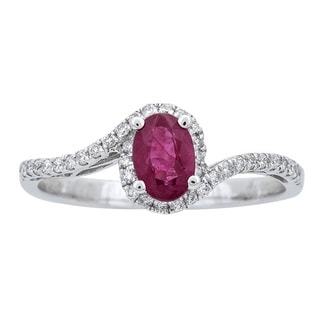 Anika and August 10k White Gold Ruby and 1/5ct TDW Diamond Ring (G-H, I1-I2)