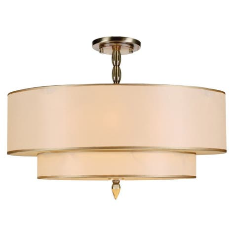 Luxo 5-light Antique Brass Flush Mount