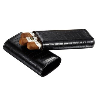Visol Draco II Black Leather Crocodile Pattern Cigar Case - Holds 2-3 Cigars