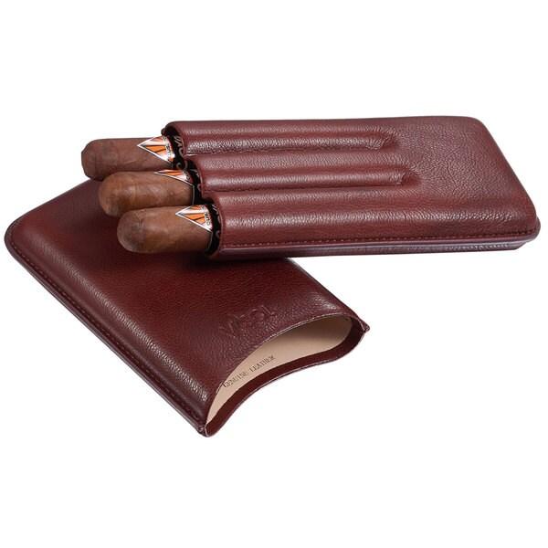 Visol Legend Burgundy Genuine Leather Cigar Case - Holds 3 Cigars
