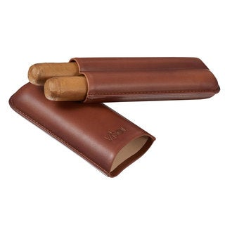 Visol Legend Brown Genuine Leather Cigar Case - Holds 2 Cigars