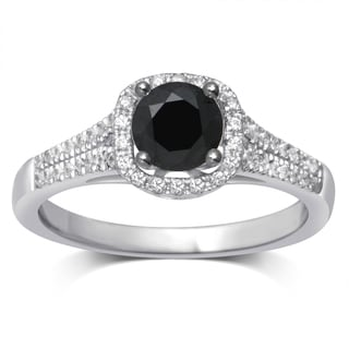 Unending Love 1ct TW Treated Black Center Milgrain Fashion Ring (I-J, I2-I3)