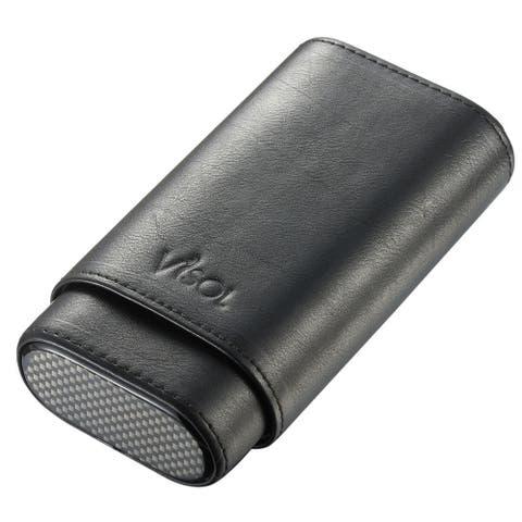 Visol Burgos Black Leather Cigar Case - Holds 3 Cigars up to 60 Ring Gauge