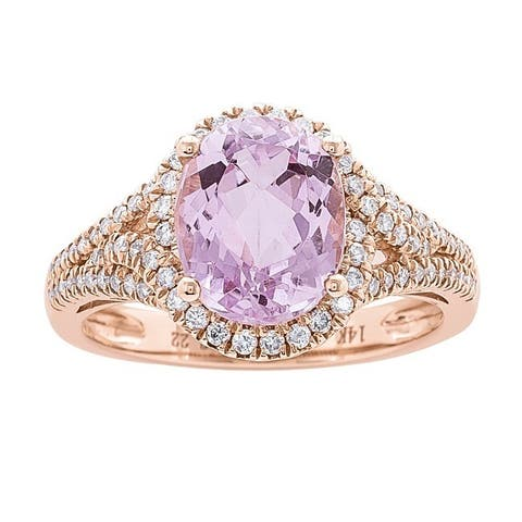 Anika and August 14k Rose Gold Kunzite and 1/2ct TDW Diamond Ring (G-H, I1-I2)