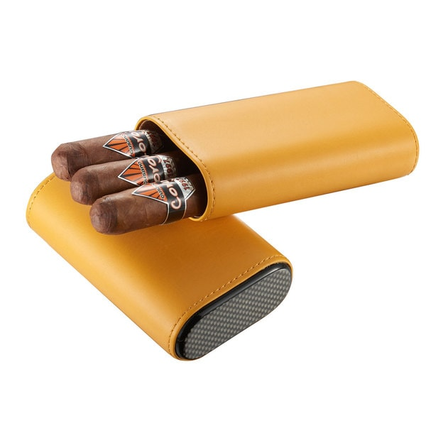 Visol Burgos Yellow Leather Cigar Case - Holds 3 Cigars