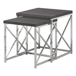 NESTING TABLE - 2PCS SET / GREY WITH CHROME METAL