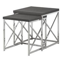 NESTING TABLE - 2PCS SET / GREY WITH CHROME METAL