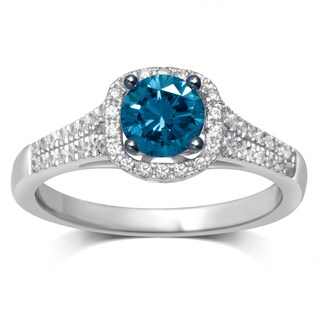 Unending Love 14K White Gold 1ct TDW Diamond Fashion Ring With Blue Centre