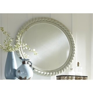 Harbor Dove Gray Cottage Round Rope Mirror - Grey