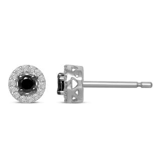 Unending Love Sterling Silver 1/4-carat Total Weight IJ I2-I3 Treated Black Diamond Stud Earrings