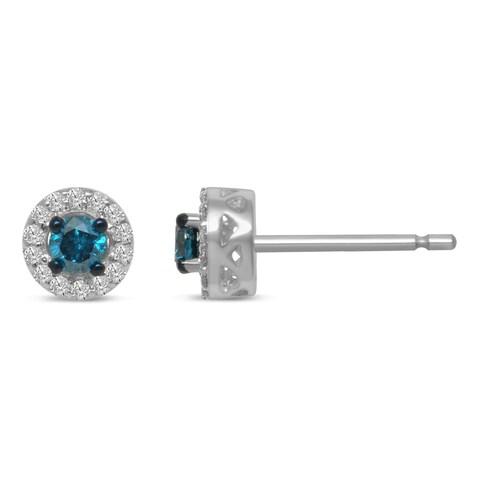 Sterling Silver Diamond TW Treated Stud Earrings (IJ I2-I3)