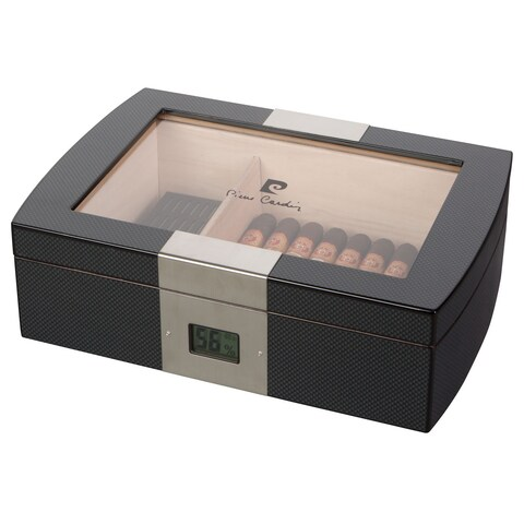 Pierre Cardin Milton Glass Top Cigar Humidor Humidor - Holds 75 Cigars