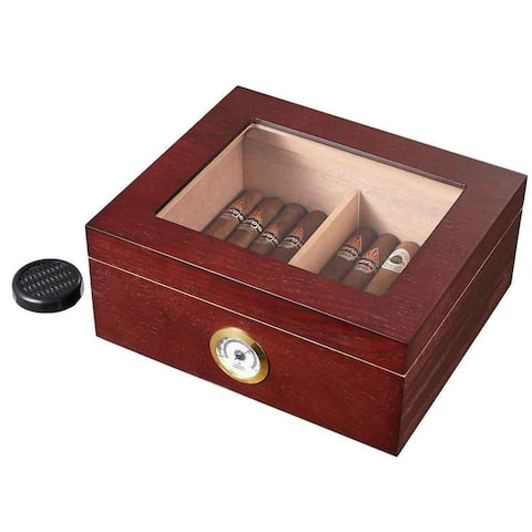 Visol Santa Clara Glass Top with Rosewood Finish Cigar Humidor - Holds 50 Cigars