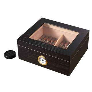 Visol Santa Clara Glass Top with Black Matte Finish Cigar Humidor - Holds 50 Cigars